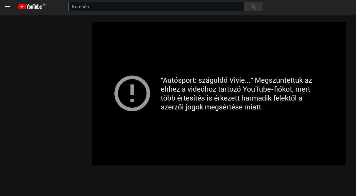 Letiltott YouTube szolgáltatás