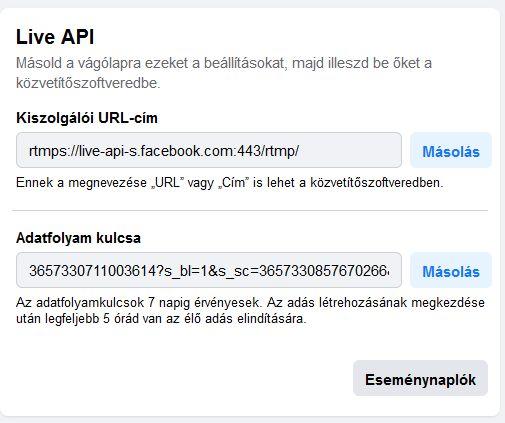 Streaming trükk saját Facebook csatorna adatfolyam kulcs és kiszolgáló